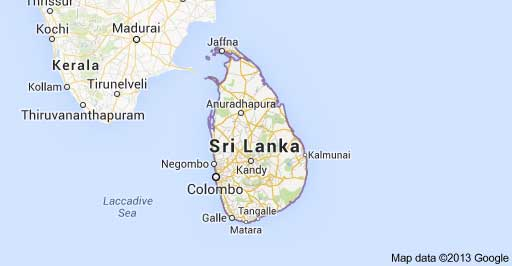 Sri Lanka map, (c)2013, Google Maps.
