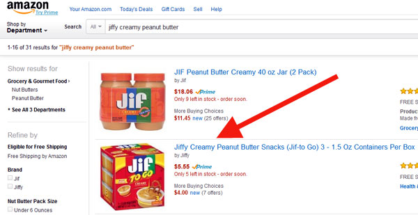 Jiffy peanut butter product, in Amazon description