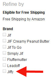 Jiffy brand name among listings at Amazon